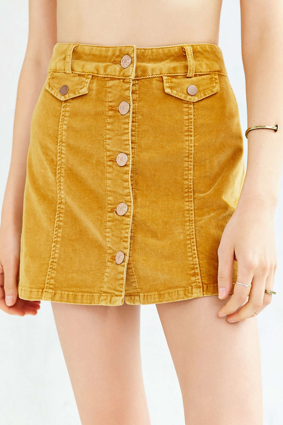 d875033a860915 Mustard Corduroy Button Up Skirt | Huston Fislar Photography