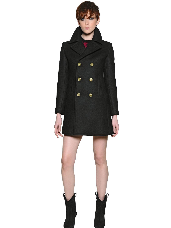 002456969c5 Saint Laurent Wool Twill Peacoat in Black - Lyst