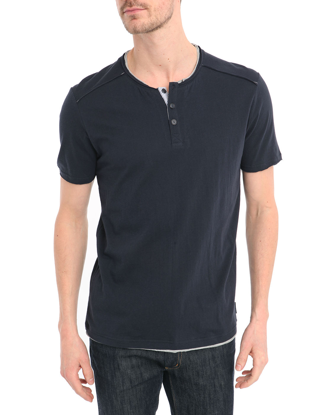 Harris wilson navy t shirt with double button up collar in for Three button collar shirts