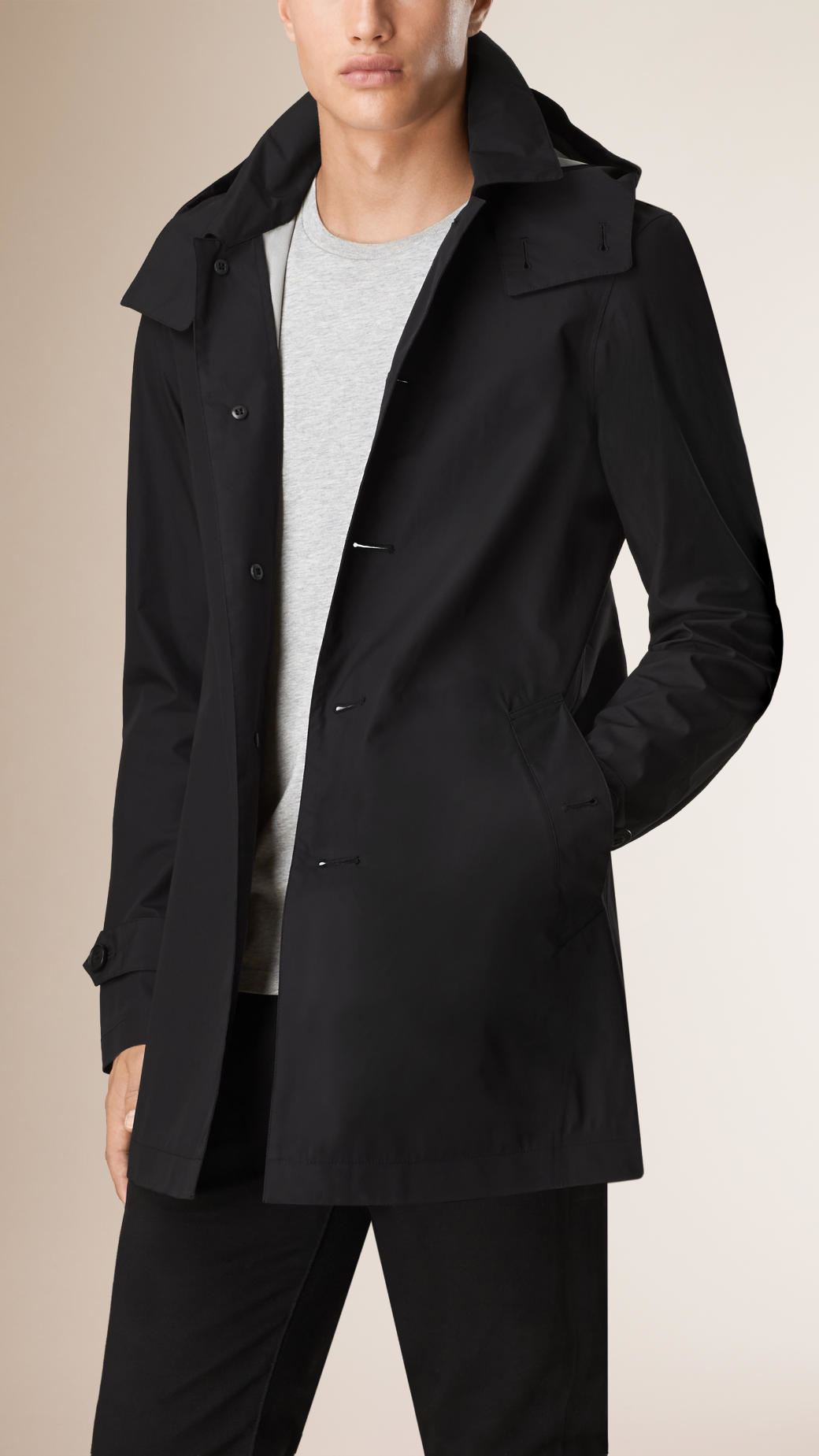 Burberry Lightweight Cotton Car Coat in Black for Men | Lyst