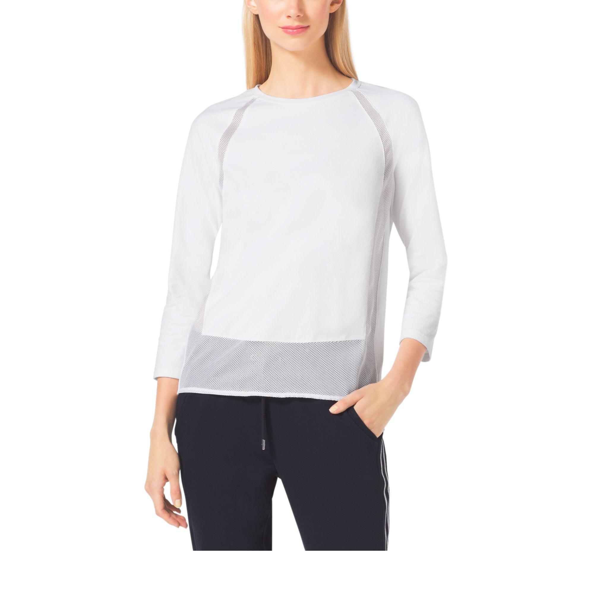 960960489fd88 Lyst - Michael Kors Sheer-panel Jersey Top in White