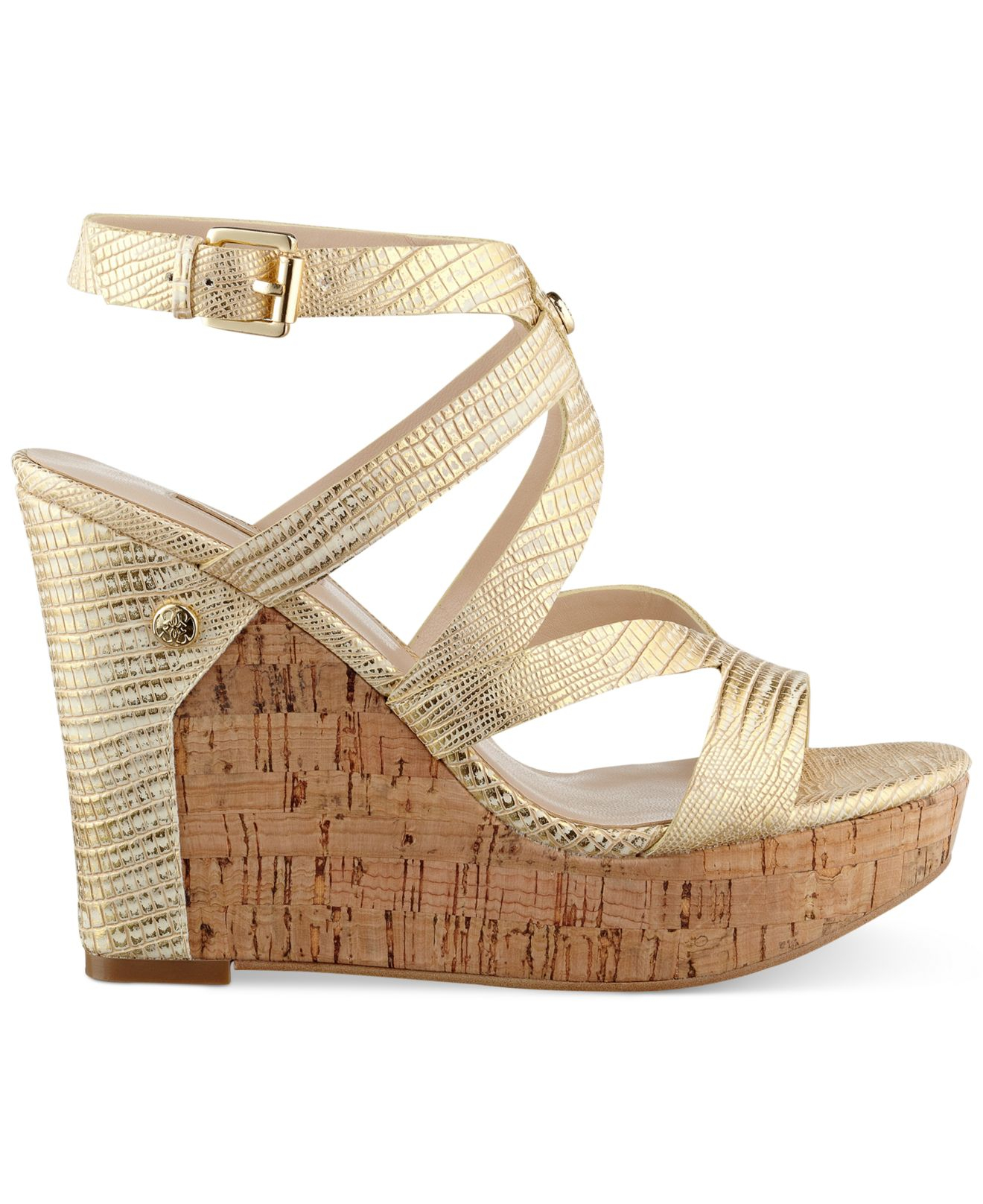 ff50a95306f Lyst - Guess Women S Harlee Cork Platform Wedge Sandals in Metallic