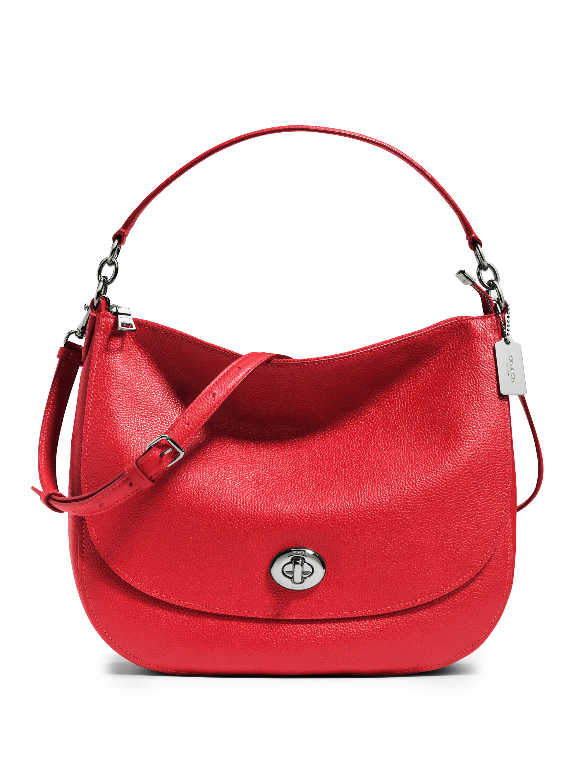 Coach Pebbled Leather Turnlock Hobo Bag in Red | Lyst