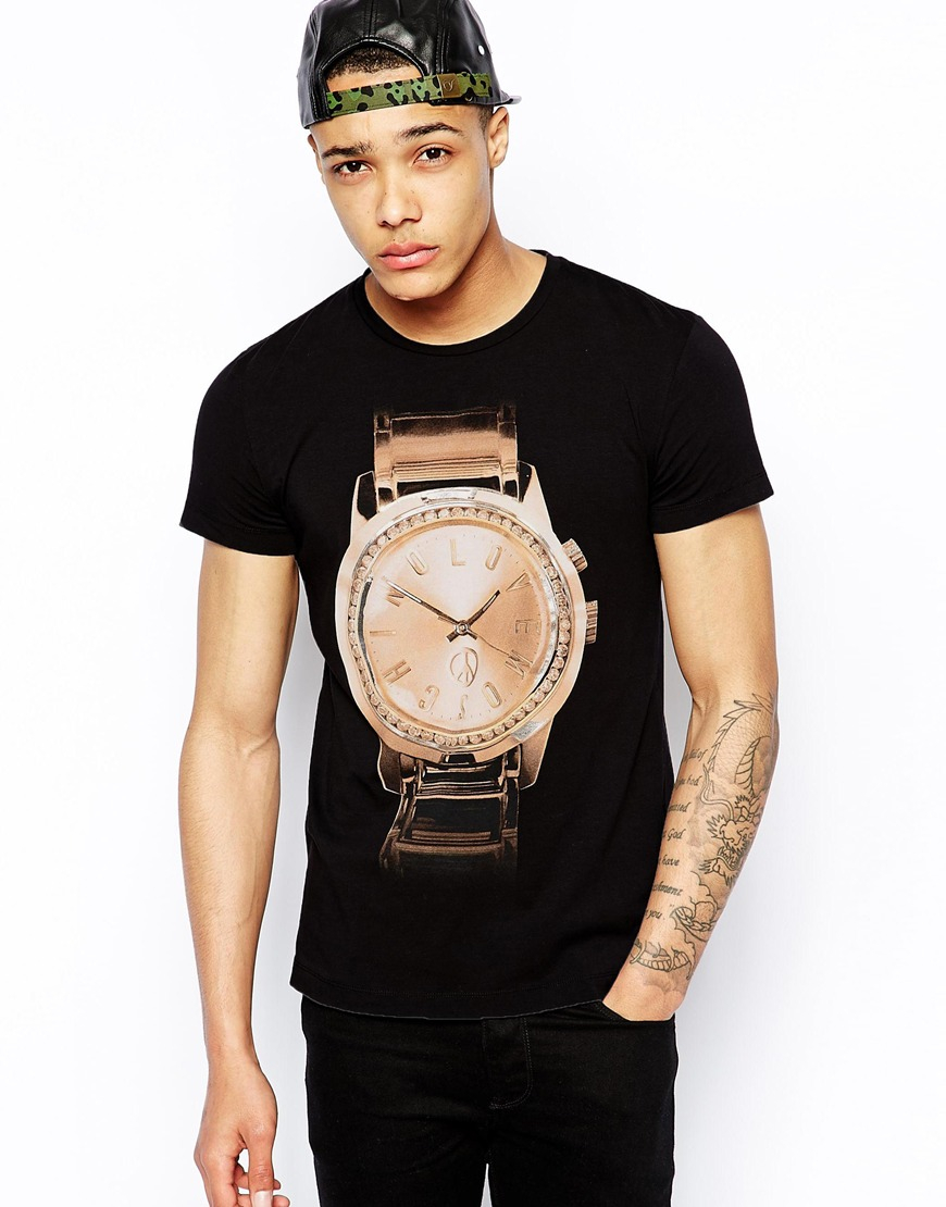 lyst love moschino t shirt with gold watch print in. Black Bedroom Furniture Sets. Home Design Ideas
