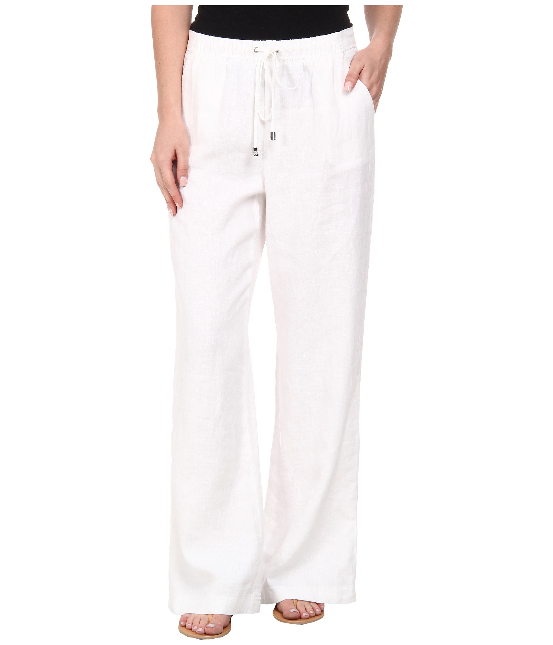 Vince camuto Wide Leg Linen Pants W/ Drawstring Waist in White | Lyst