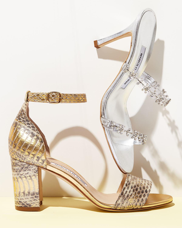 5287c660b571 Lyst - Manolo Blahnik Lauratomod Snakeskin Ankle-Wrap Sandals in ...