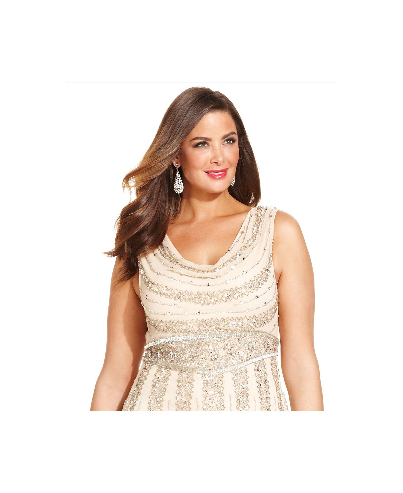 Lyst - Patra Plus Size Beaded Cowl-Neck Gown in Natural