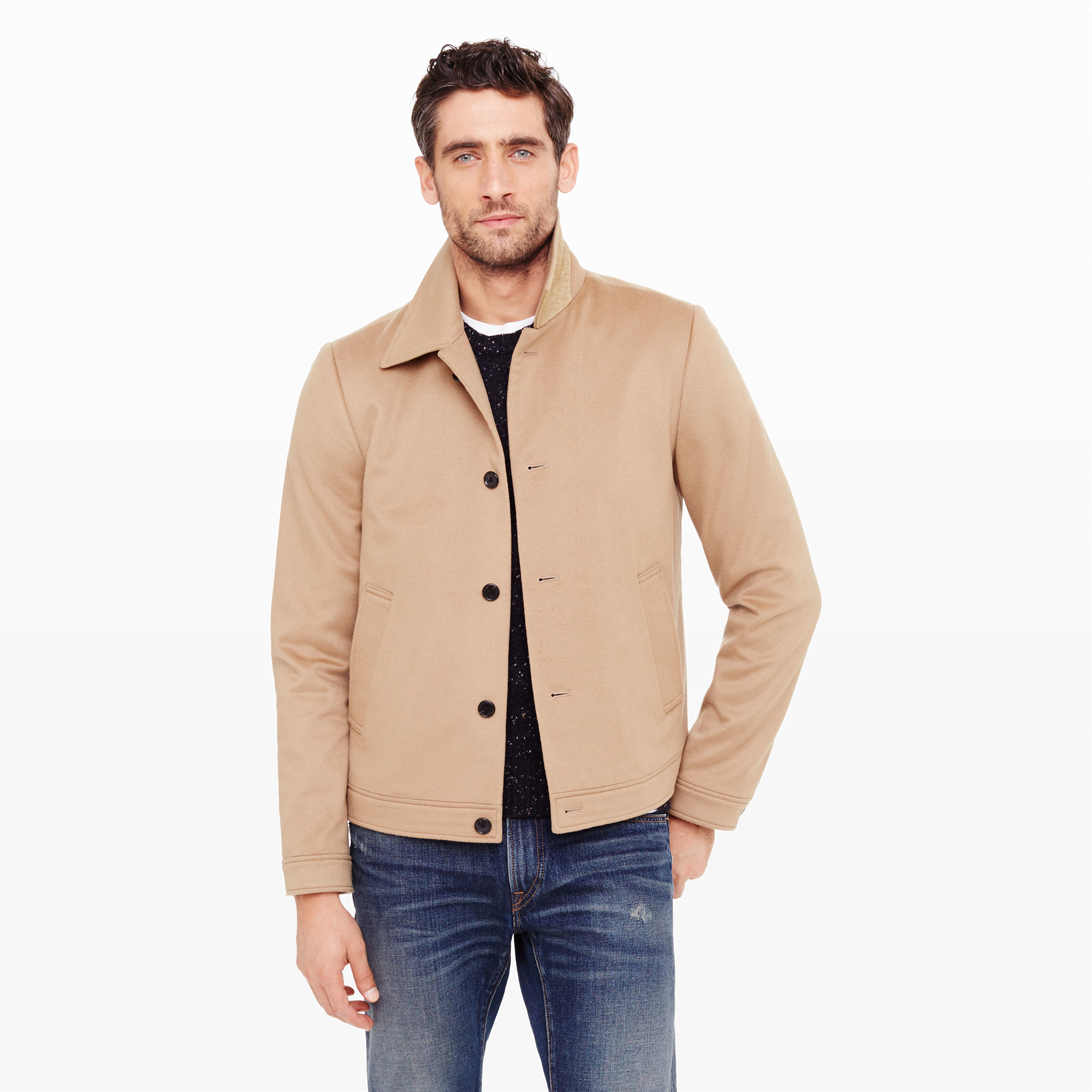 Club monaco Bal Collar Short Jacket in Natural for Men | Lyst