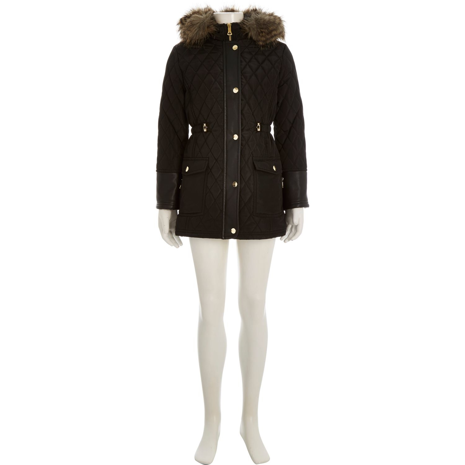 River island Girls Black Quilted Longline Parka Coat in Black | Lyst