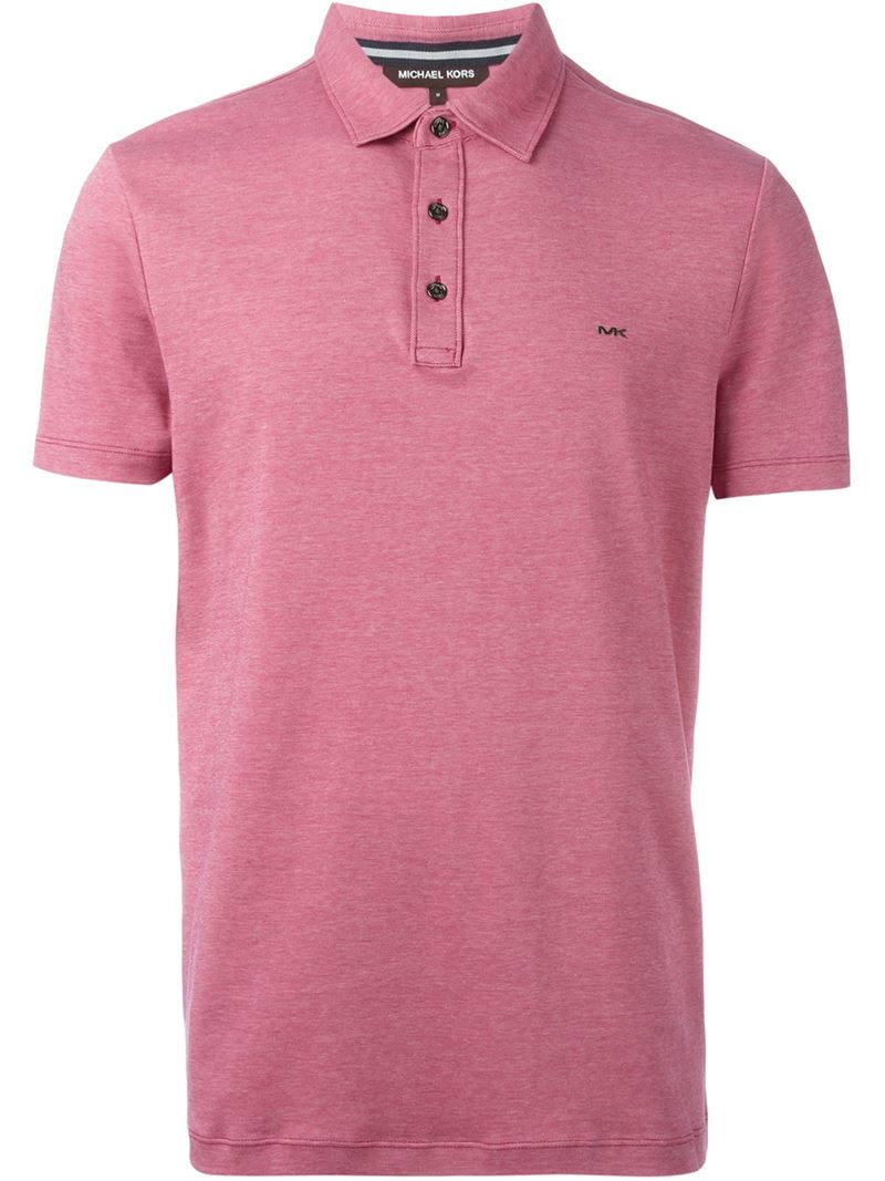 Michael kors short sleeve polo shirt in pink for men lyst for Michael kors mens shirts sale