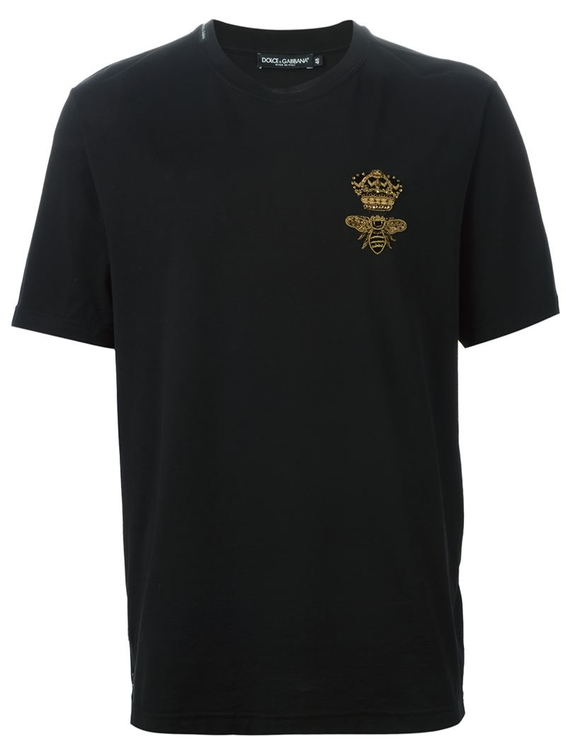Dolce Amp Gabbana Crown Amp Bee Applique Embroidered T Shirt