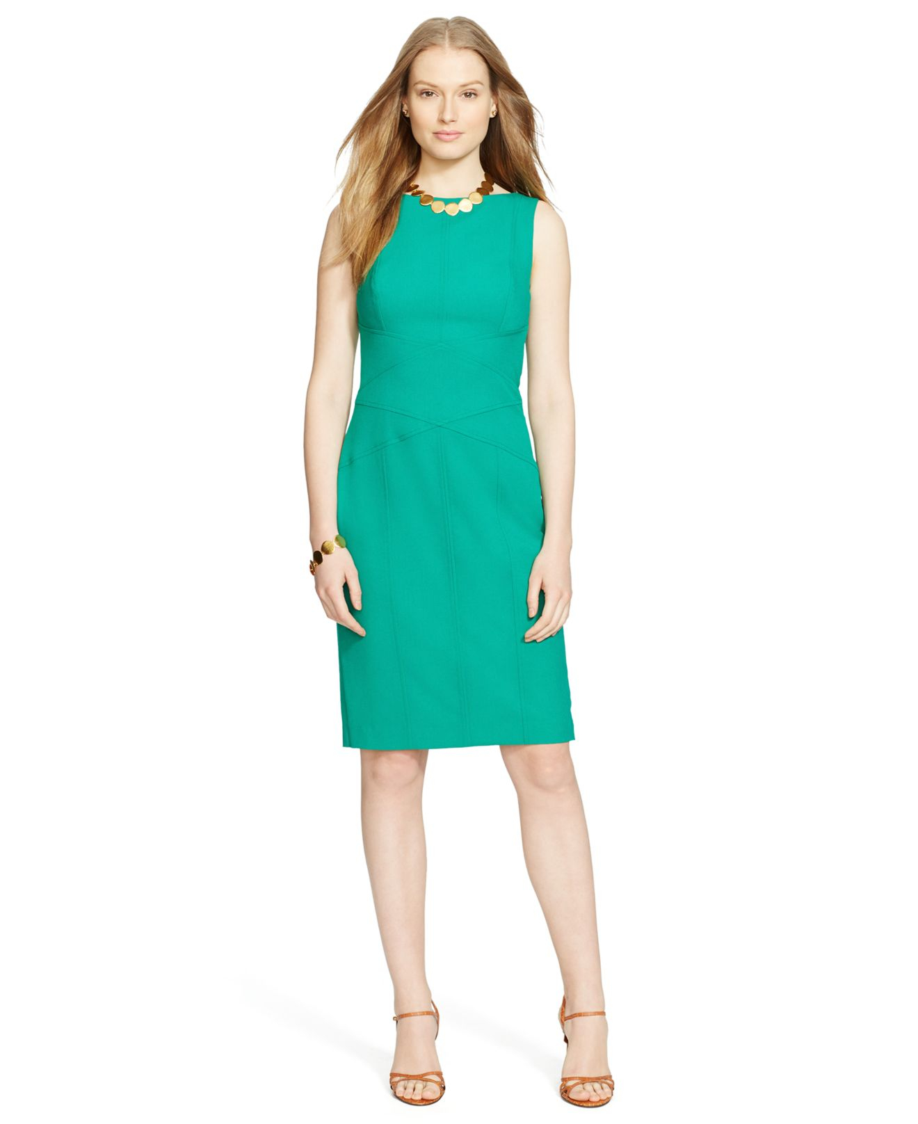 Lauren by ralph lauren Sleeveless Dress in Green | Lyst