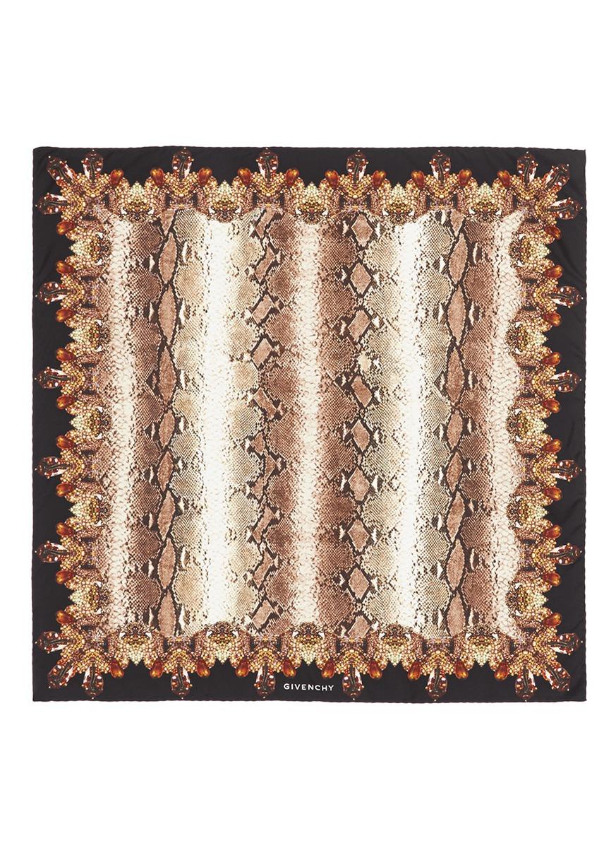 Givenchy de serpiente de estampado seda piel Bufanda de con zpF6Fq