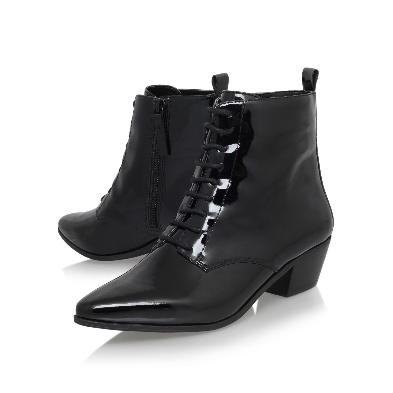 Nine west Tersk3 Low Heel Lace Up Ankle Boots in Black | Lyst