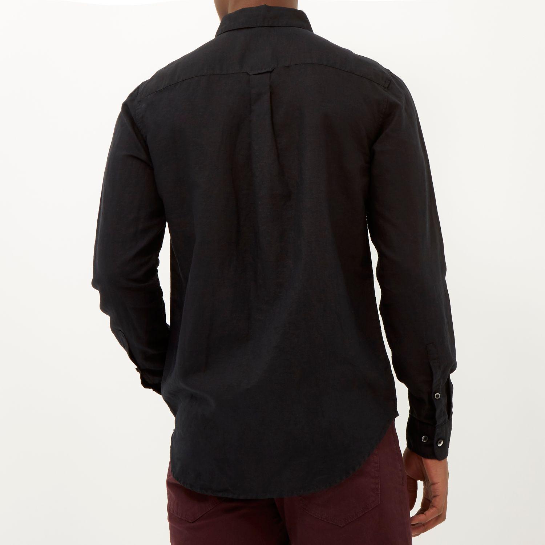 River Island | Black Linen Blend Long Sleeve Shirt for Men ...