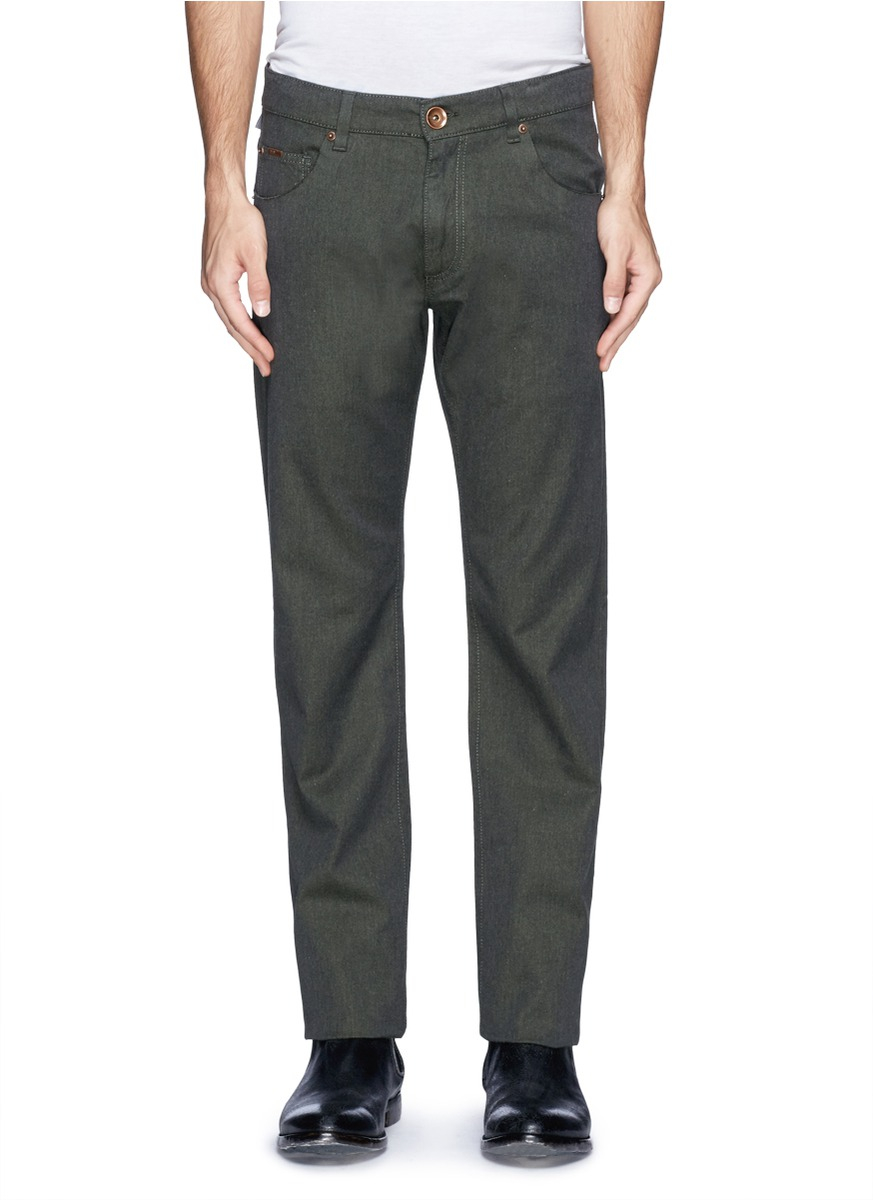 lyst armani straight fit cotton blend jeans in gray for men. Black Bedroom Furniture Sets. Home Design Ideas