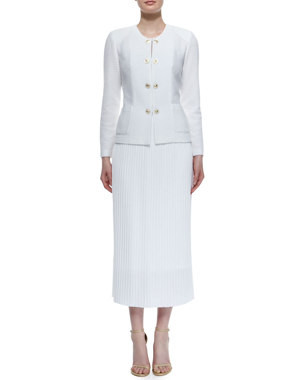 Misook Long Pleated Skirt in White | Lyst