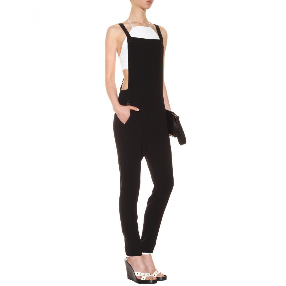 d543ea05fc01 Lyst - Rag   Bone Box Leathertrimmed Crepe Jumpsuit in Black