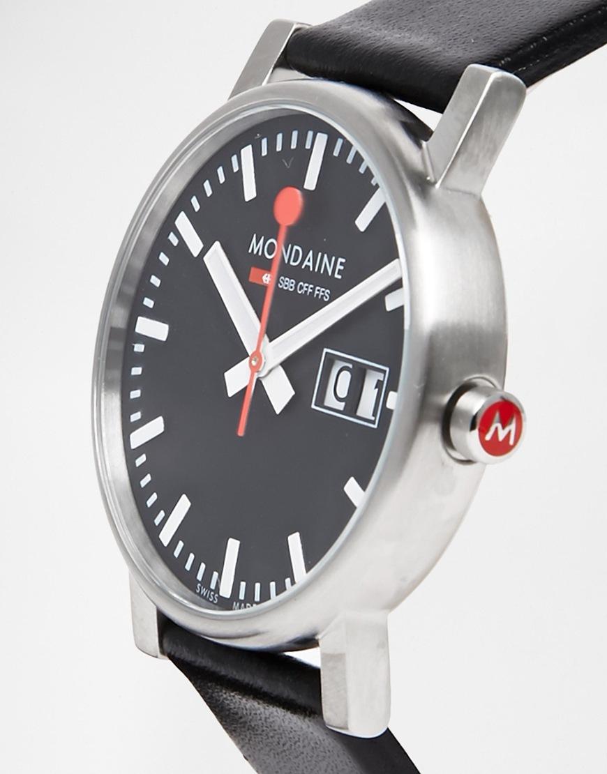 Lyst mondaine evo black leather strap watch with date window in black for men - Mobel maxx munchen ...