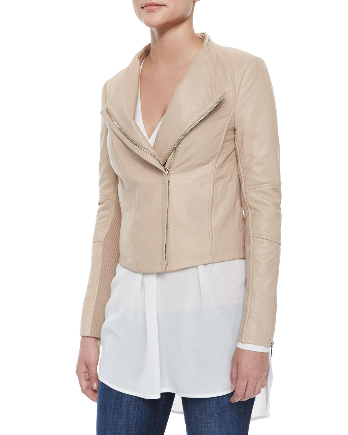 Knitting Pattern For Fitted Jacket : Vince Leather/knit Fitted Jacket in Natural Lyst