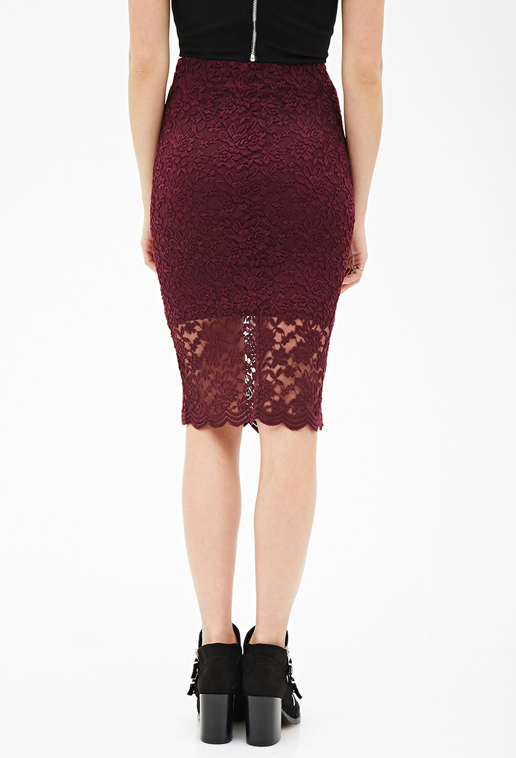 Forever 21 Floral Lace Pencil Skirt in Purple   Lyst