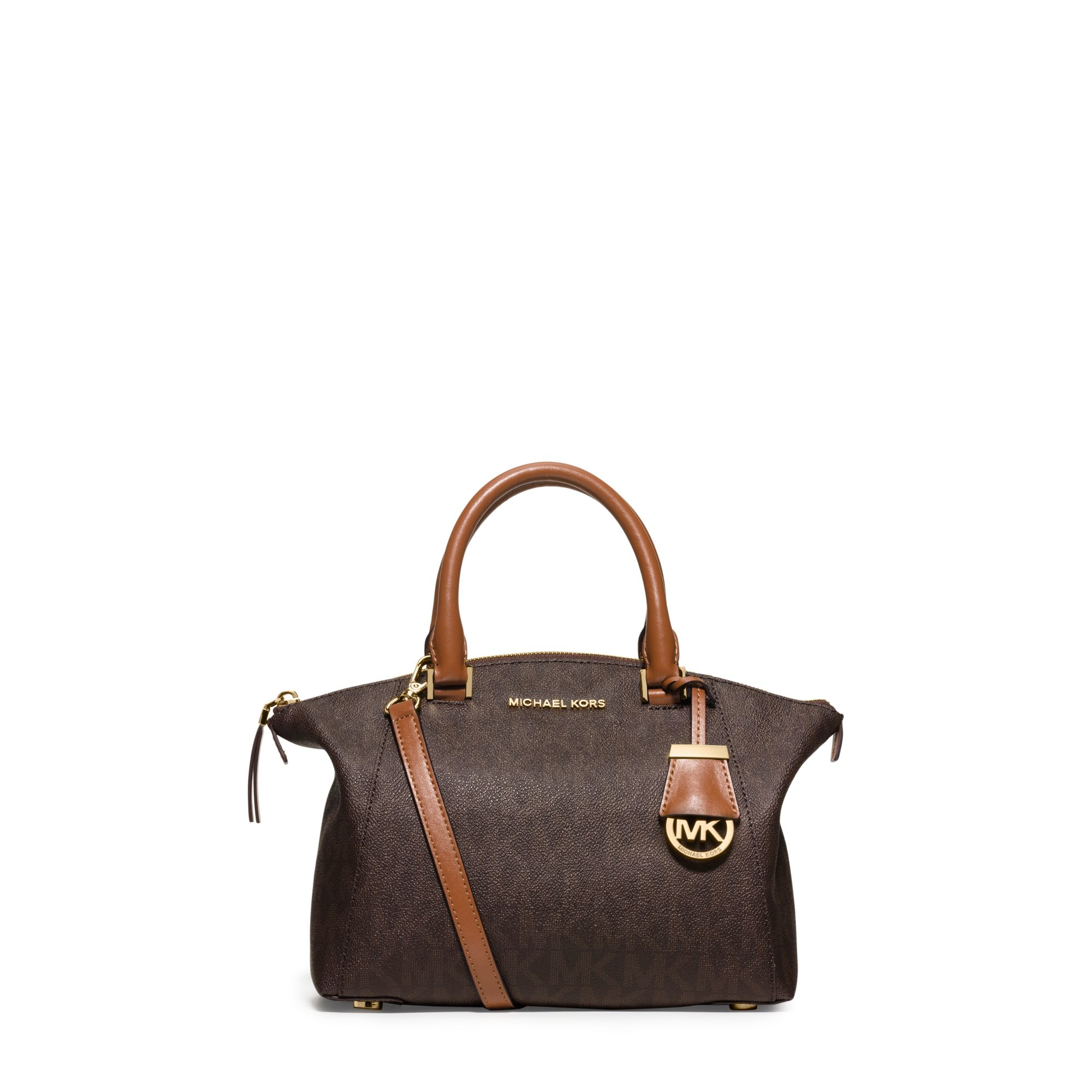 michael michael kors riley signature small satchel in brown lyst. Black Bedroom Furniture Sets. Home Design Ideas
