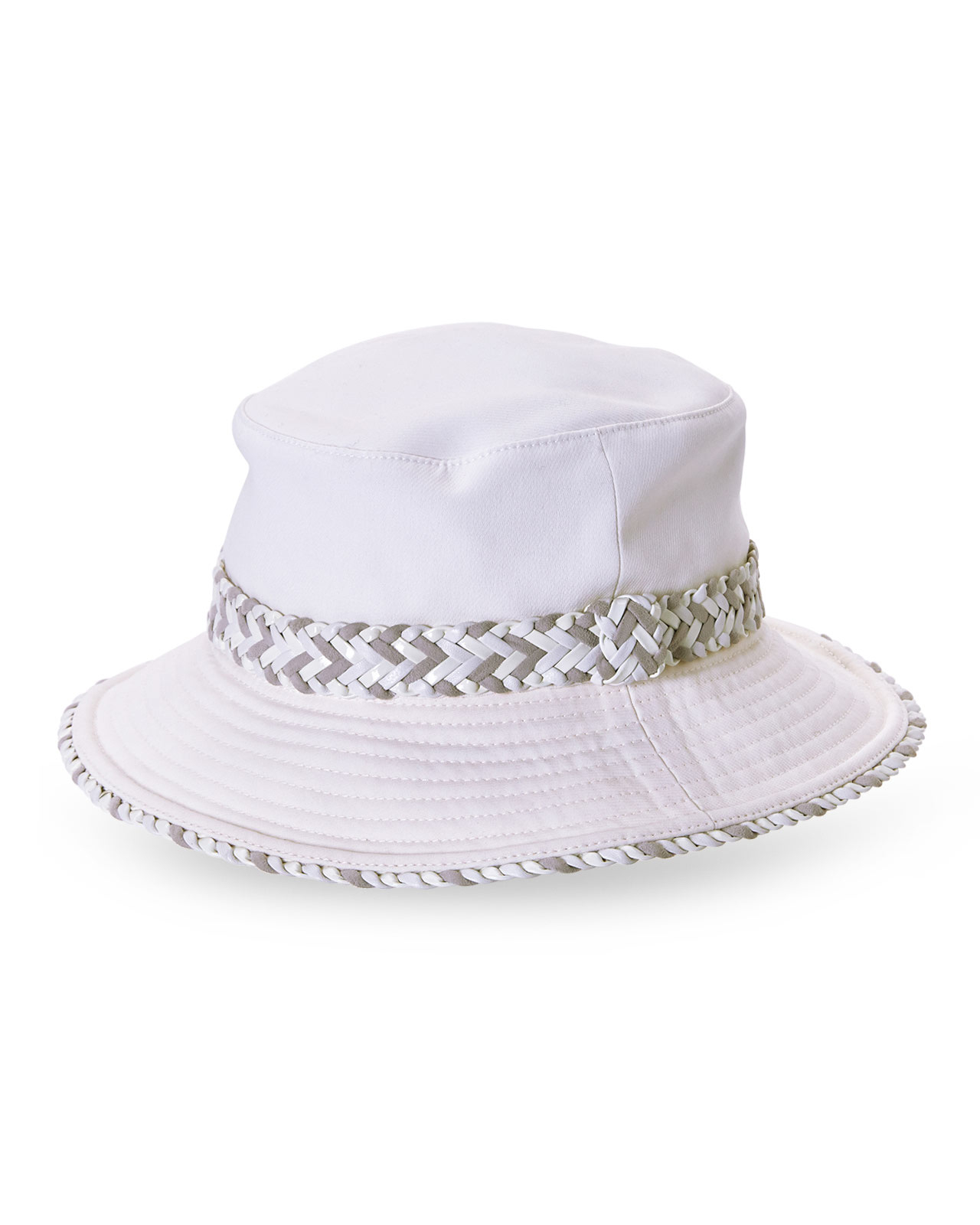 cee4e775ce6 Lyst - Hermès HermãˆS White Braided Band Sun Hat in White for Men
