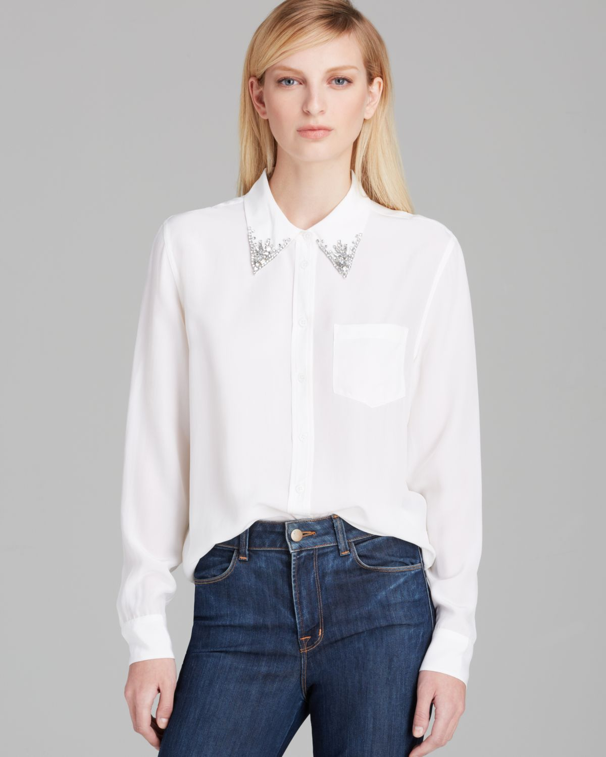 Lyst Equipment Blouse Reese Jewel Collar Silk In White
