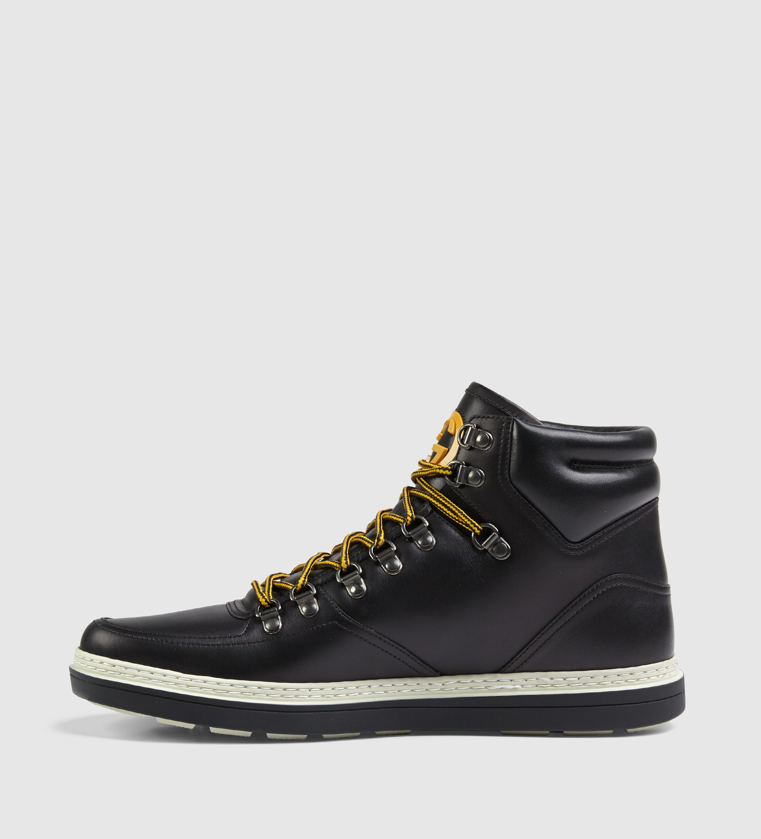 lyst gucci leather trekking boot in black for men