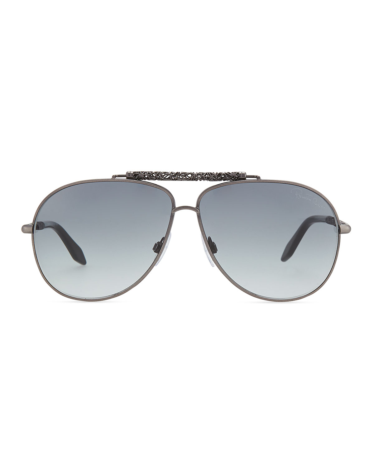 roberto cavalli aviator scrolled metal temple sunglasses