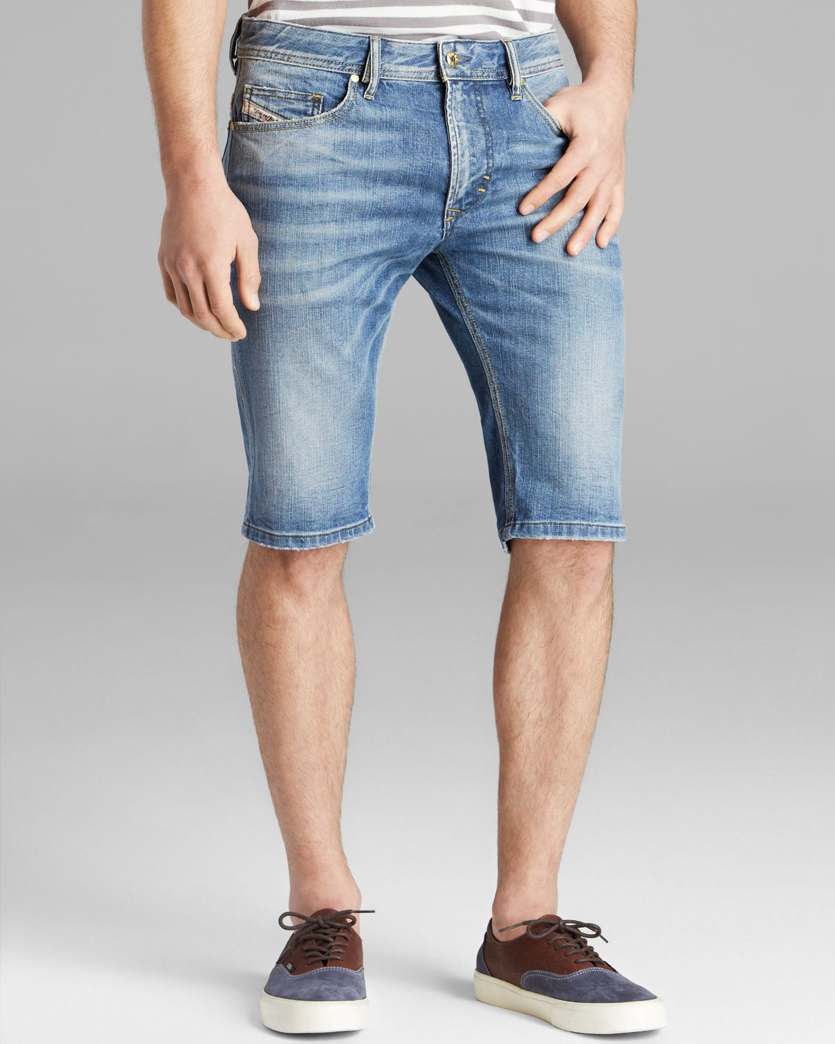 Lyst Diesel Thashort Denim Shorts In Blue For Men
