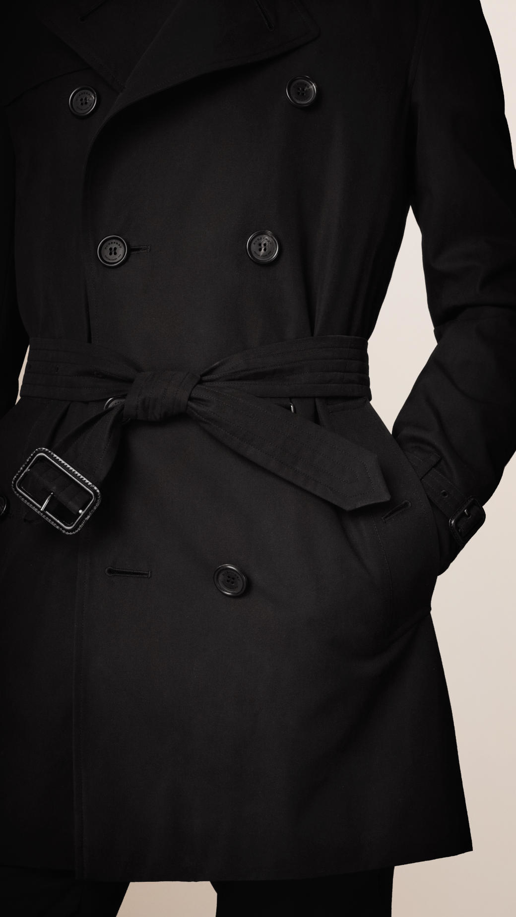 Black dress mid length trench