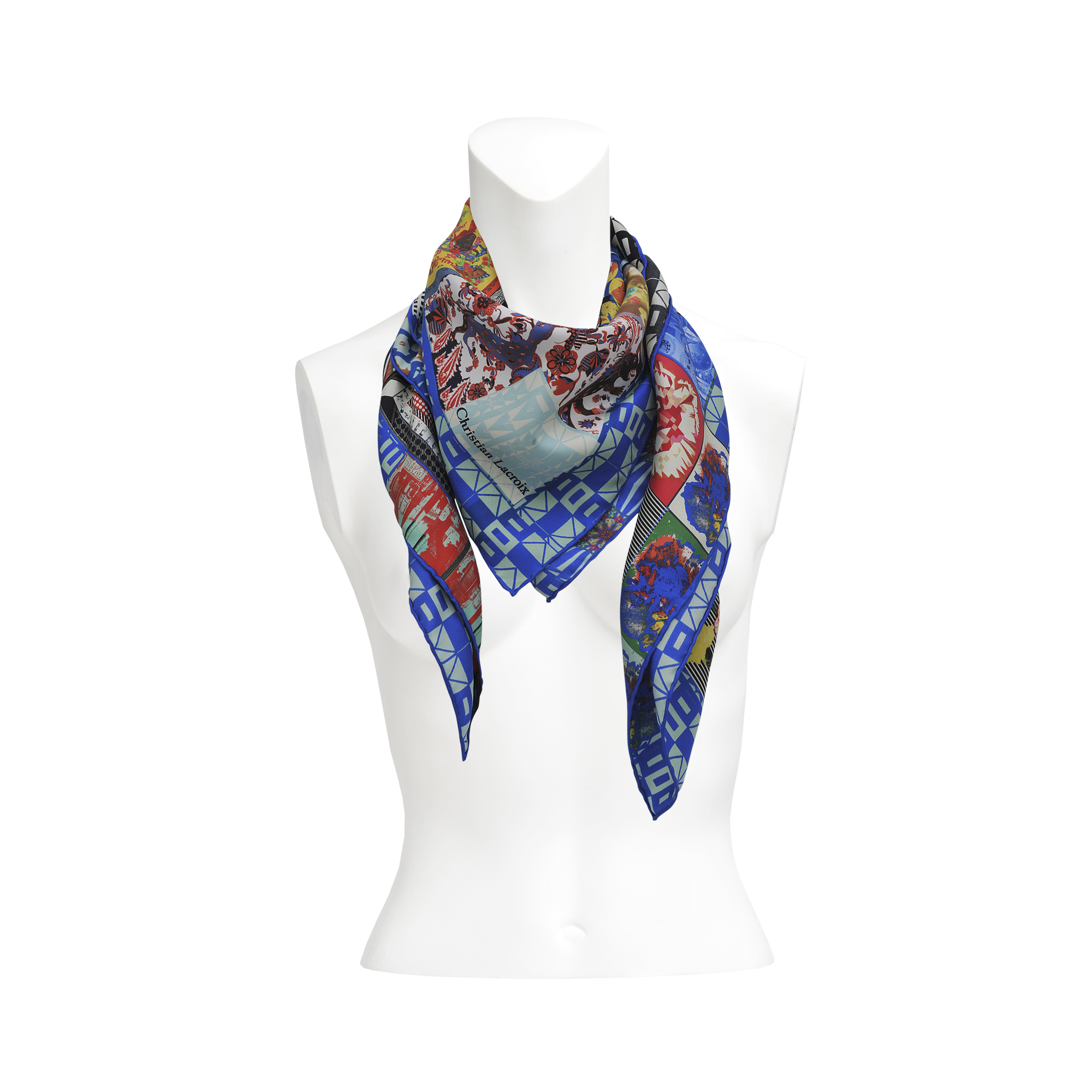 christian lacroix patch 90x90 silk scarf in multicolor