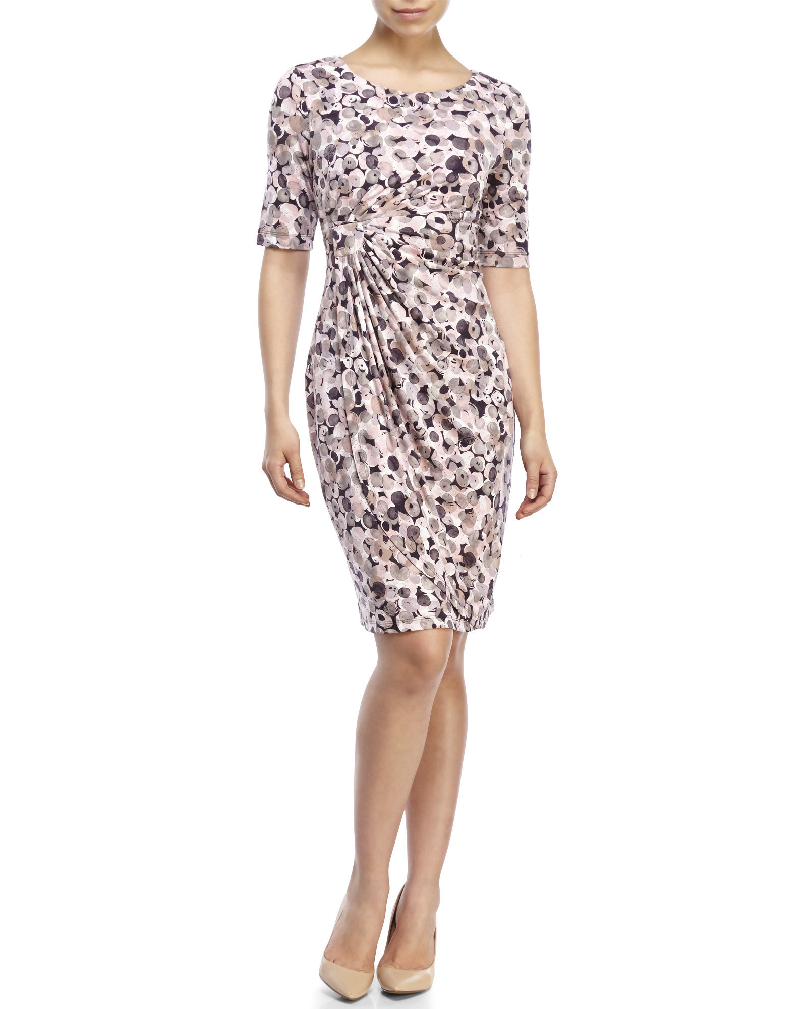 43ea57aa Connected Apparel Petite Shirred Bubble Print Dress in Pink - Lyst