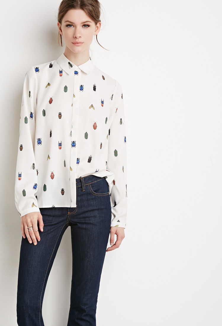 Lyst Forever 21 Contemporary Bug Print Shirt