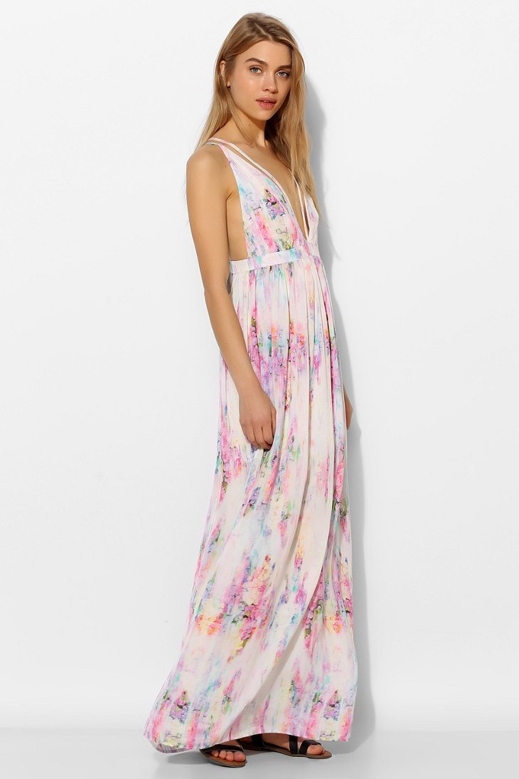 Lyst Oh My Love Strappy Plunge Maxi Dress In Pink