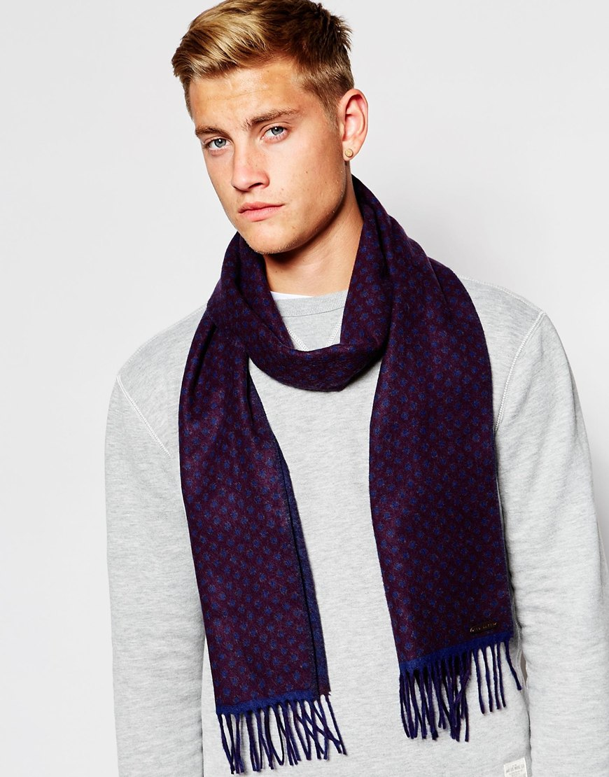 a97618a19f23d Ted Baker Reversible Scarf In Blue For Men Lyst