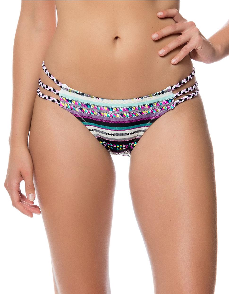 jessica simpson santa fe strappy braid bikini bottom in black lyst