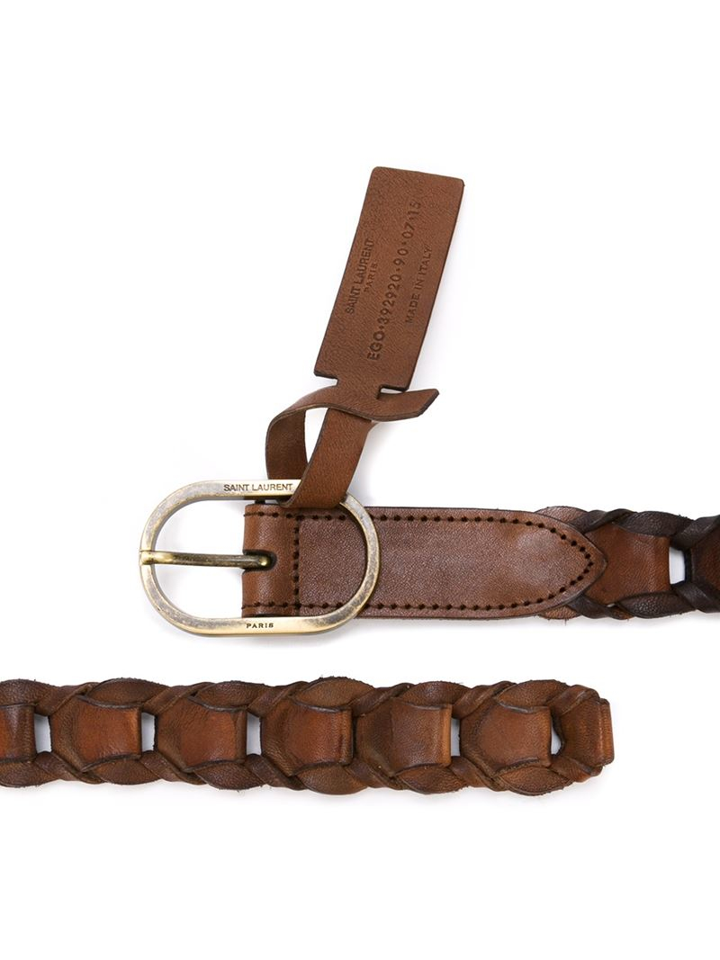 laurent brown braided belt for lyst