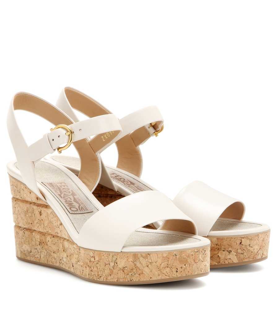 5873aa91b14 Lyst - Ferragamo Madea Leather Wedge Sandals in Natural
