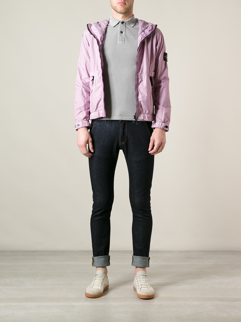 Stone Island Zip Fastening Jacket In Purple For Men Lyst