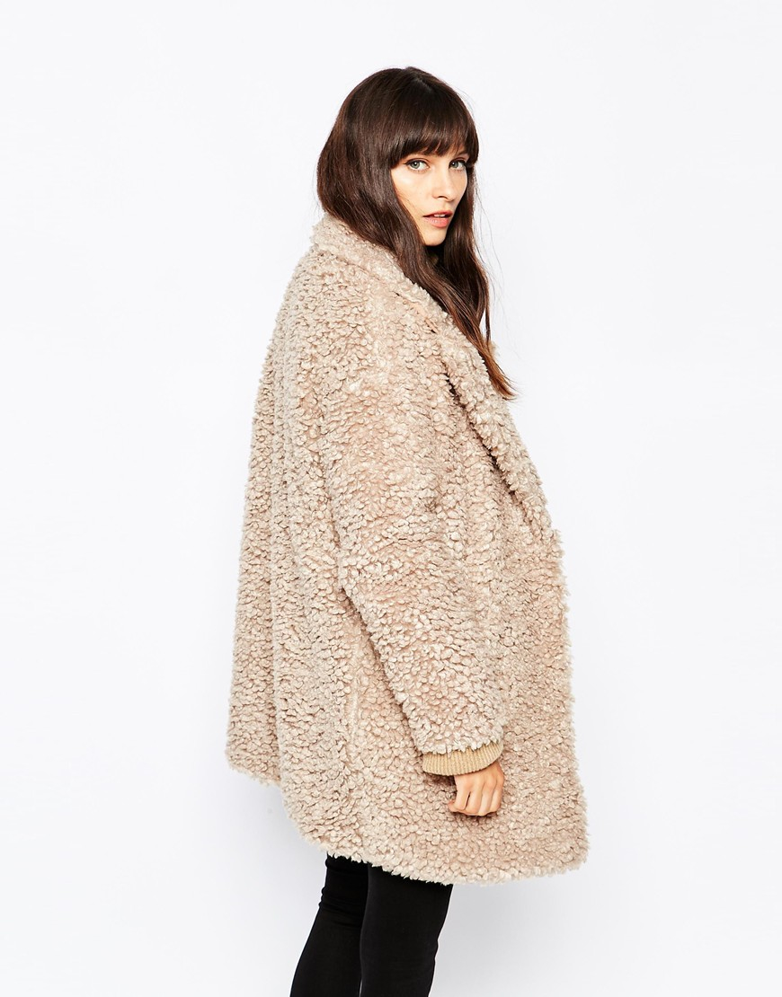 Paisie Fluffy Teddy Bear Coat in Natural | Lyst