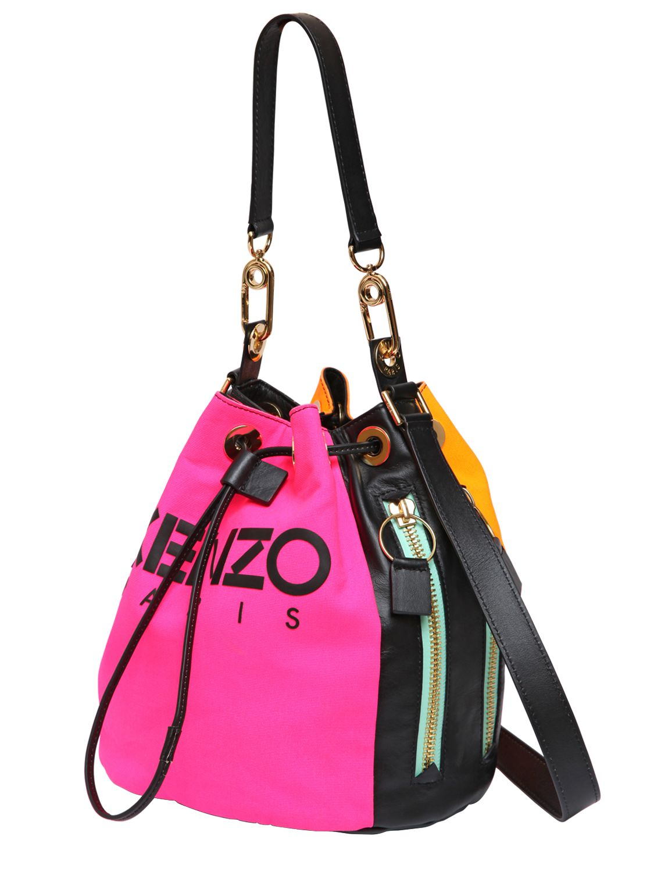 cb4b1a61cf KENZO Two Tone Canvas & Leather Bucket Bag in Purple - Lyst