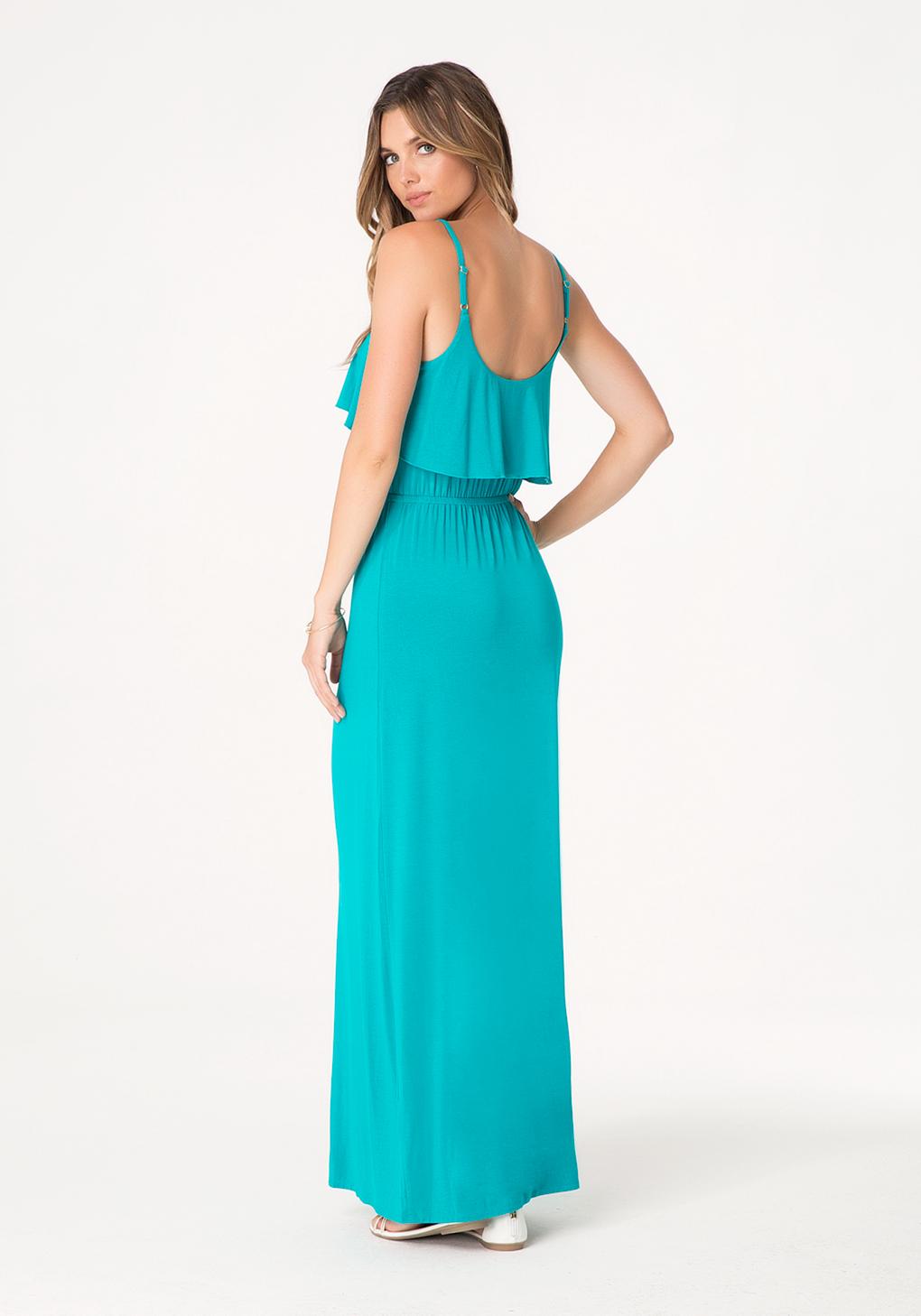 Lyst - Bebe Logo Ruffle Maxi Dress in Blue