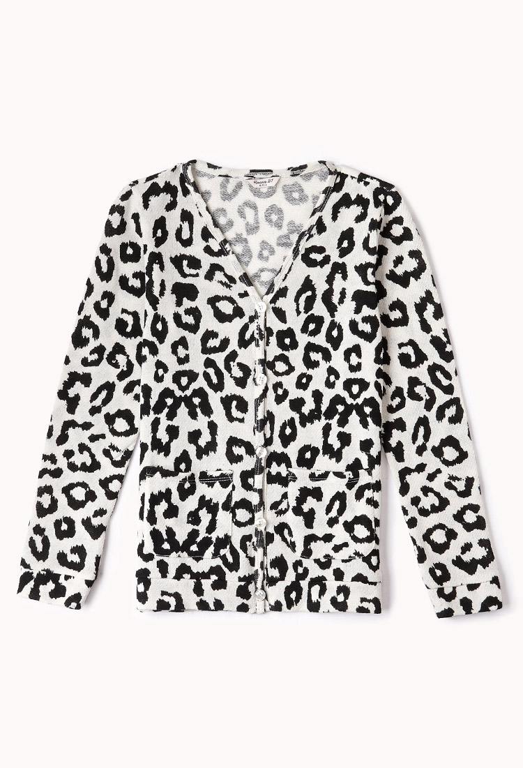 Forever 21 Leopard Print Cardigan in Black | Lyst