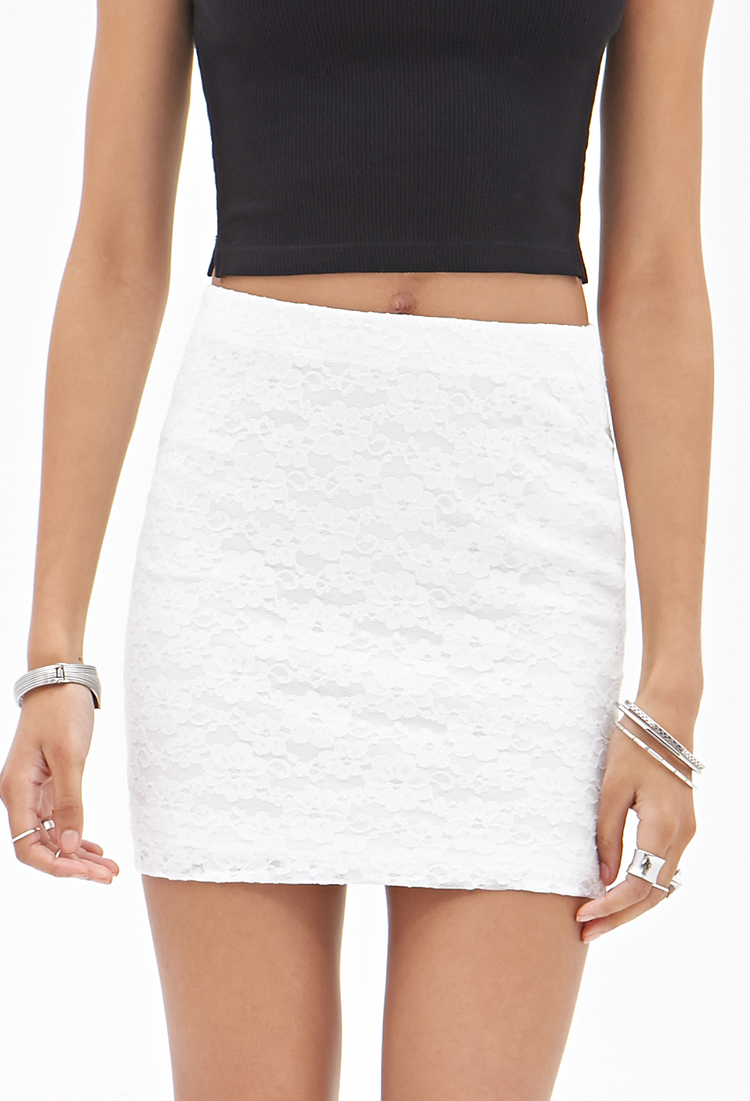 061bc6adc8 Forever 21 Lace Mini Skirt in White - Lyst