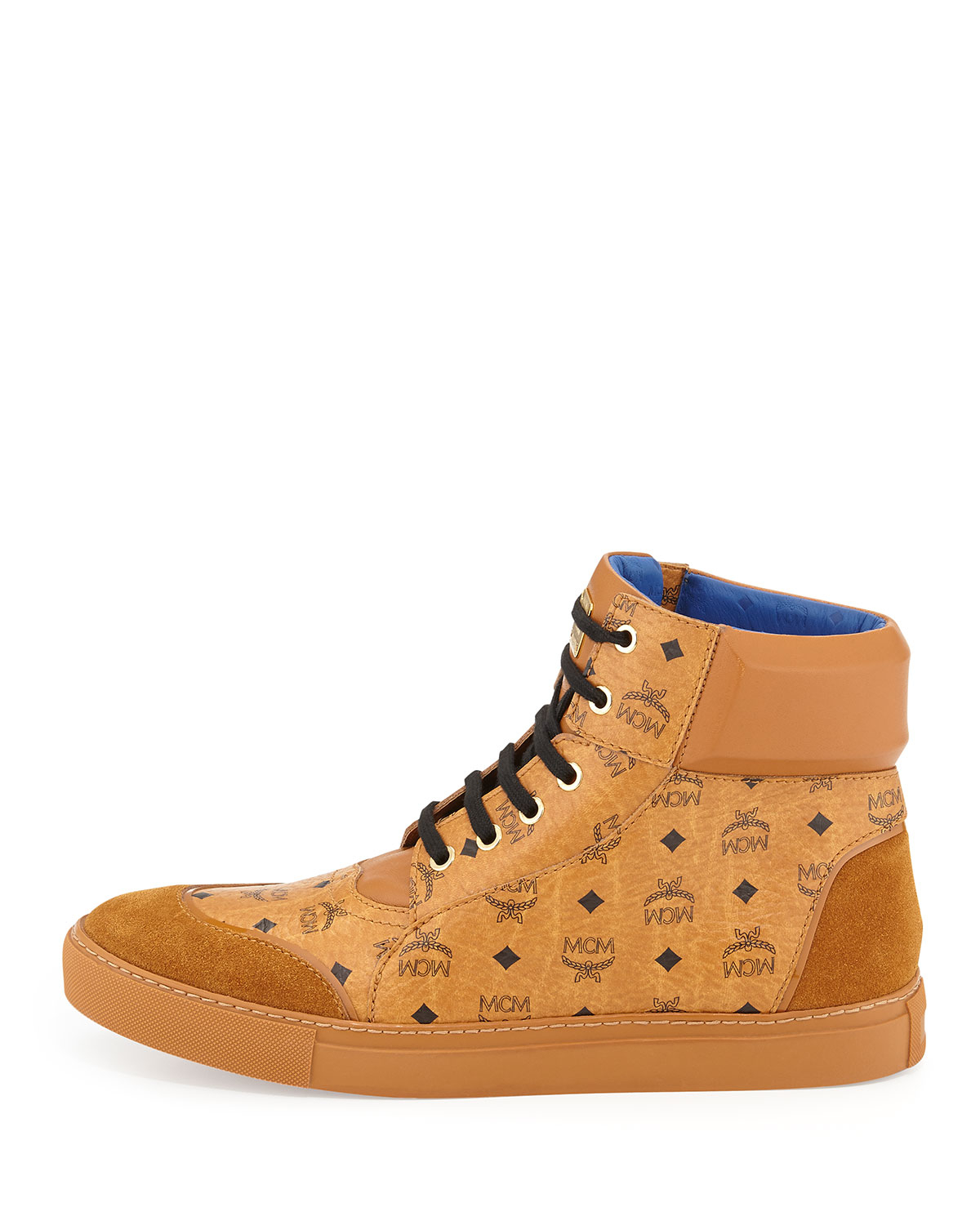 mcm classic high top sneakers in orange for lyst