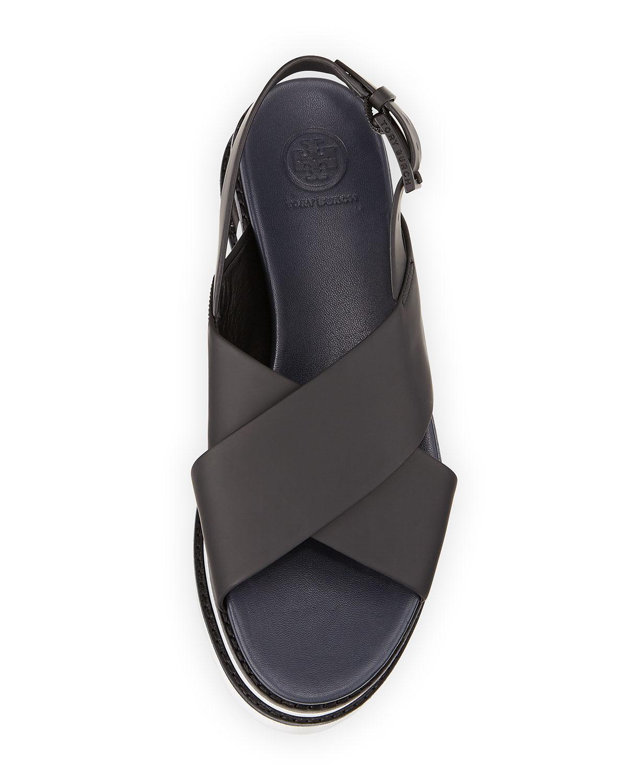 e03f91d42e2 Lyst - Tory Burch Gloriette Crisscross Platform Sandal in Black