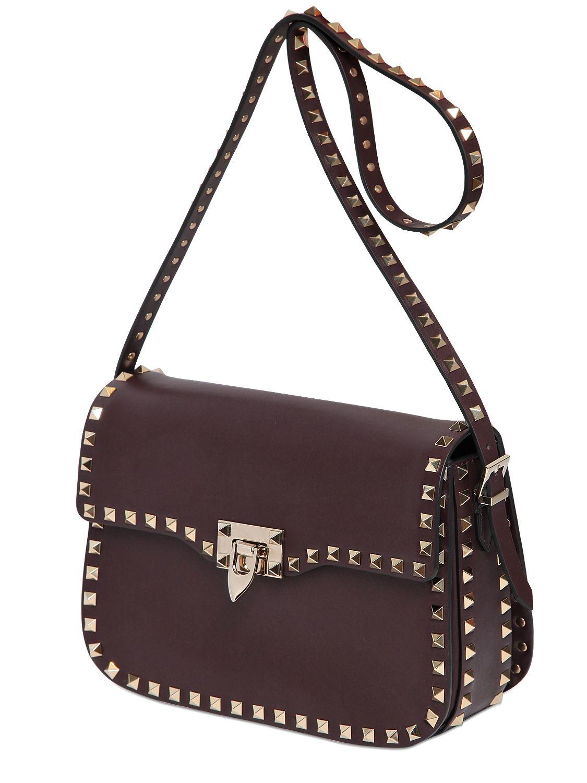 Valentino Rockstud Nappa Leather Shoulder Bag In Brown Lyst