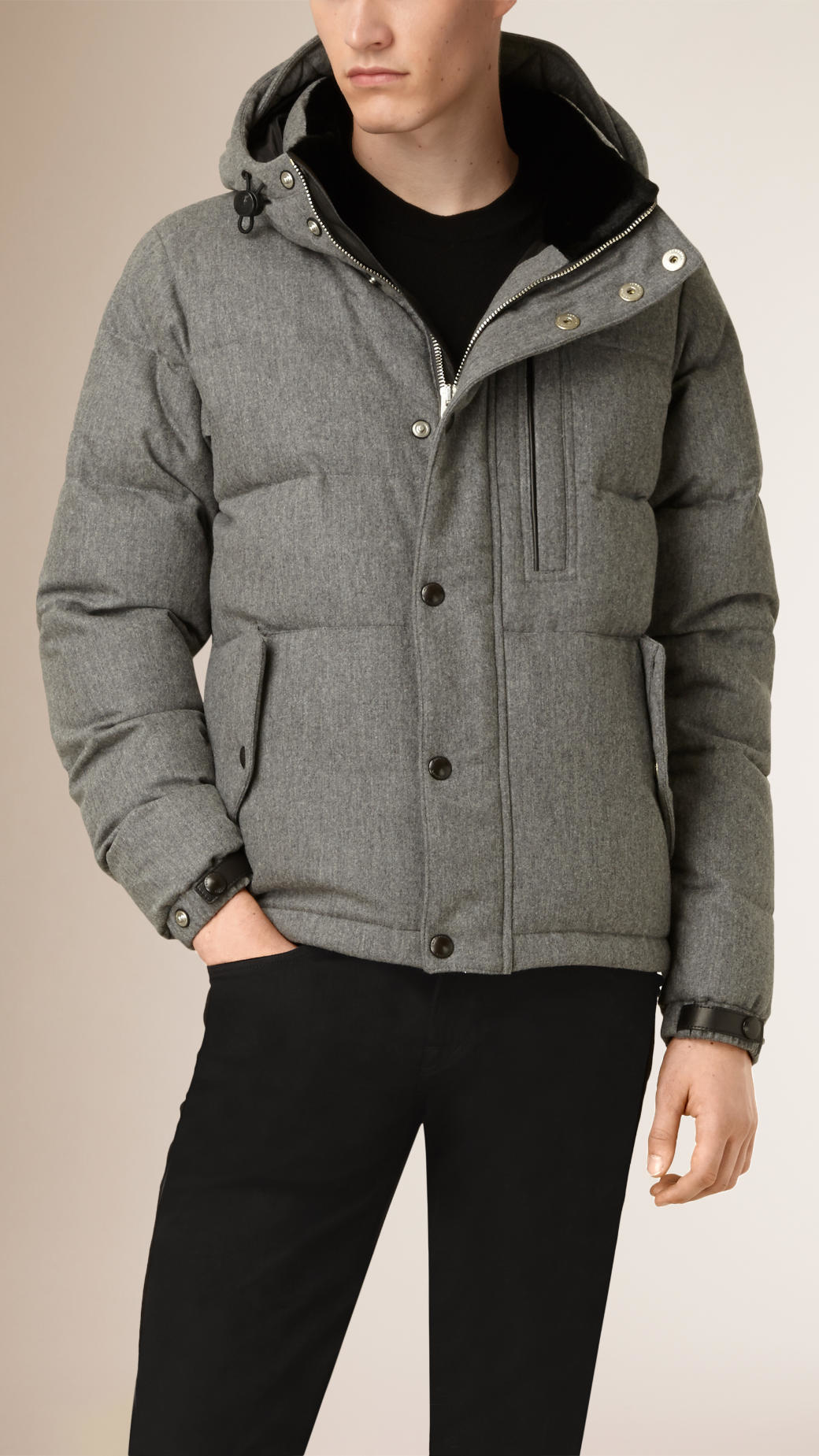 Burberry Wool Cashmere Down-filled Puffer Jacket With Rabbit Fur ...